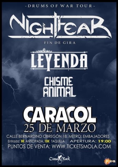 Nightfear, Leyenda, Chisme Animal - Sala Caracol